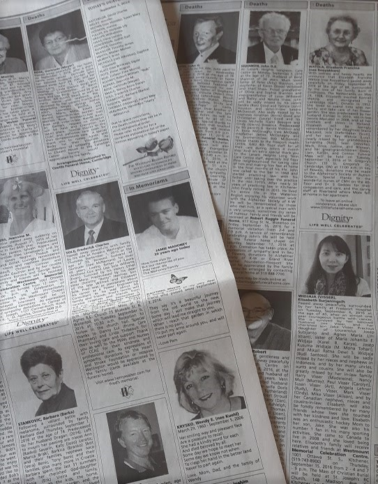 Obituaries in the newspaper